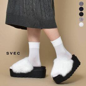 ファーサンダル ラビットファー サンダル レディース SVEC シュベック つっかけ ブラック 黒 ホワイト 白 ネイビー 紺 グレー ライトグレー 灰色 カジュアルシューズ 女性の 靴 つっかけ おしゃれ ウサギ 獣毛 ファー おしゃれ 2019 秋 冬