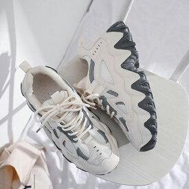 ダッドスニーカー スニーカー レディース 厚底スニーカー 厚底 韓国 ダッドシューズ カジュアルシューズ 可愛い かわいい おしゃれ ローカット レースアップ ブラック 黒 ベージュ ホワイト 白 シューズ 靴 くつ アウトレット 2021 春 夏 春夏