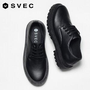 カジュアルシューズ メンズ おしゃれ 厚底 ダービーシューズ オックスフォードシューズ 4ホール レースアップシューズ 韓国 丸紐 短靴 短ぐつ ブラック 黒 靴 シューズ ブランド SVEC シュベ