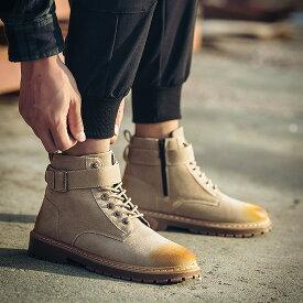 チャッカブーツ メンズ ショートブーツ ワークブーツ カジュアルシューズ サイドジップ レースアップ ブラック 黒 ベージュ ブラウン 茶色 グレー 灰色 男性用 紳士靴 くつ おしゃれ メンズシューズ アウトレット 在庫処分 2019 春 夏