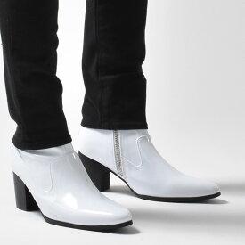 ブーツ メンズ ショートブーツ 革靴 ヒールブーツ ショートブーツ 革靴 皮靴 ブランド endevice エンデヴァイス サイドジップ ホワイト 白 エナメル ジョッパーブーツ ポインテッドトゥ カジュアル 男性の シューズ ホスト アウトレット 在庫処分 2019 秋 冬