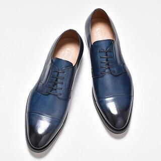 ビジネスシューズメンズオックスフォードシューズストレートチップレースアップ紐靴本革本皮外羽根ブルー紺男性用紳士靴くつイタリア製ブランドメンズシューズ2019春夏