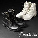 センタージップ メンズ ブーツ 革靴 フロントジップ ワークブーツ エンジニアブーツ ジップ 靴 カジュアルシューズ ショートブーツ endevice エンデヴァイス ブラック 黒 ホワイト 白 男性