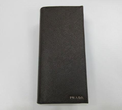 新品 メンズ プラダ 2つ折長財布 2MV836 サフィアーノ ブラウン×ブラック【あす楽対応_関東】