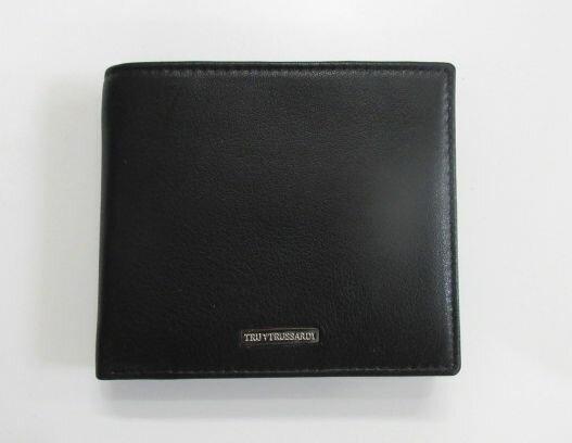 新品 メンズ トラサルディ 2つ折小銭入付財布 プレート ブラック×ブルー【あす楽対応】