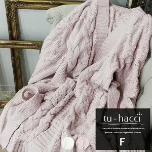 ルームウェア もこもこ 冬 レディース おしゃれ かわいい ガウン 羽織り ケーブルニットガウン あったか 2color ホワイト ピンク【tu-hacci】