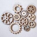 【5個セット】ギアボタン/木製/スチームパンク/ギヤ/デコレーション/アクセサリーパーツ/クラフト/DIY