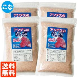 【4個セット・送料無料】アンデスの岩塩 粉(こな) 紅塩 500g 食塩