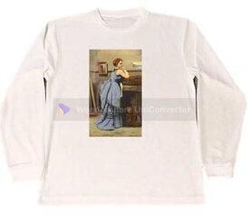 ジャン・バティスト・カミーユ・コロー 青い服の婦人 ドライ Tシャツ 名画 絵画 グッズ ロング ロンT 白