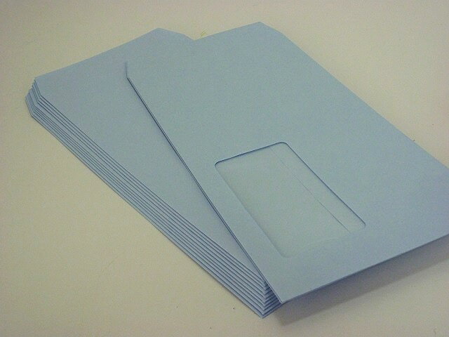 長3封筒窓付 ソフトブルー80g枠なし 1,000枚