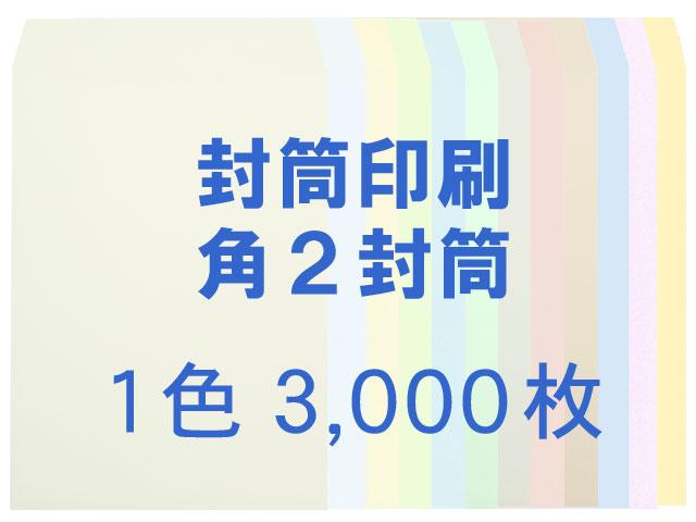 封筒印刷 角2 ソフトカラー100g L貼 3,000枚 [印刷1色] 送料無料【smtb-k】【w1】