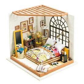 ミニチュアハウス ドールハウス DIY ベッドルーム|日本公式販売/日本語説明書付 Robotime 組み立てキット DG107