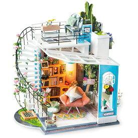 【公式】 つくるんです ミニチュアハウス ルーフトップ 日本語説明書付 Robotime 組み立て ドールハウス DIY キット DG12