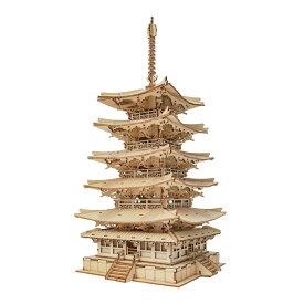 【公式】つくるんです TGN02 五重塔|Robotime 日本公式/日本語説明書付 3D ウッドパズル 手作りキット 脳トレ 小学生 大人 工作キット 段ボール