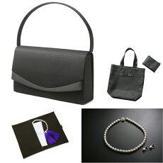 【フォーマル7点セット】バッグネックレスイヤリングふくさハンカチ数珠折畳トート
