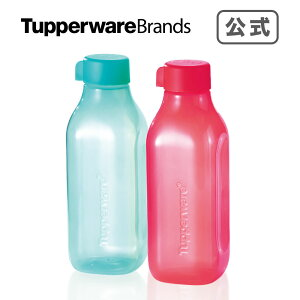 水筒 軽量 スクエアエコボトル1L(2) タッパーウェア タッパー マイボトル 携帯用ボトル 水筒 アウトドア スポーツ用 スポーツドリンク 水分補給 キャンプ ランチ