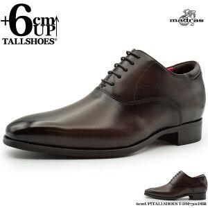 シークレットシューズ マドラス モデロ 革靴 セミスクエアトゥ プレーントゥ 内羽根 ダークブラウン 背が高くなる靴 トールシューズ 【t-dm7501dbr】