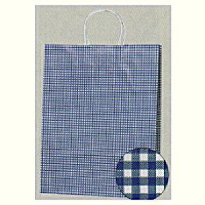 [業務用]紙袋手提げ 25チャームバック 2才ギンガムミニ青(普通サイズ)50枚ギフトにプレゼントにお菓子のラッピングに。プレゼントのラッピングにおしゃれでかわいい紙製の袋 激安の包装用