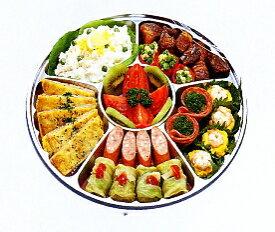 [業務用]サークルトレイ FP-3 シルバー透明蓋付きセット20枚入り使い捨てのオードブル皿大皿のオードブル容器で仕切りがあり惣菜や食材が引き立ちます。用途いろいろ(皿/プレート/取り皿/オーバル皿/エコ皿/オードブル皿使い切り/丸型/福助の容器)で便利です