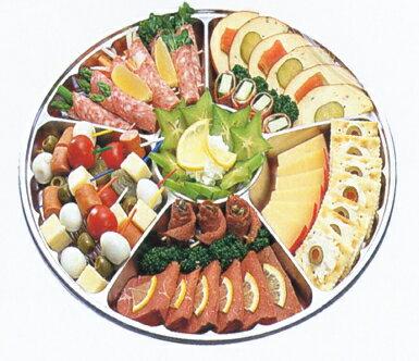 [業務用]サークルトレイ FP-5 シルバー透明蓋付きセット20枚入り使い捨てのオードブル皿大皿のオードブル容器で仕切りがあり惣菜や食材が引き立ちます。用途いろいろ(皿/プレート/取り皿/オーバル皿/エコ皿/オードブル皿使い切り/丸型/福助の容器)で便利です