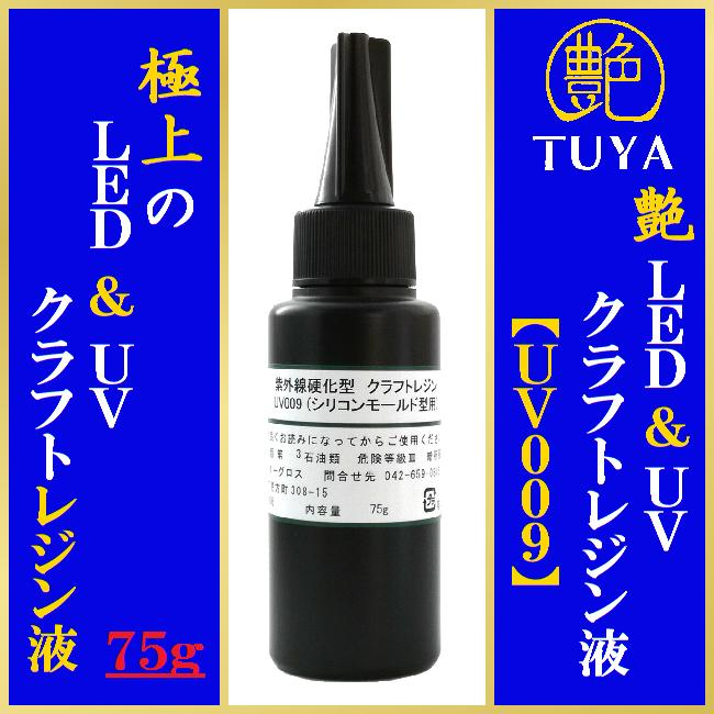 艶 UVレジン液 【UV009】75gシリコンモールド型用アクリル板1枚付き