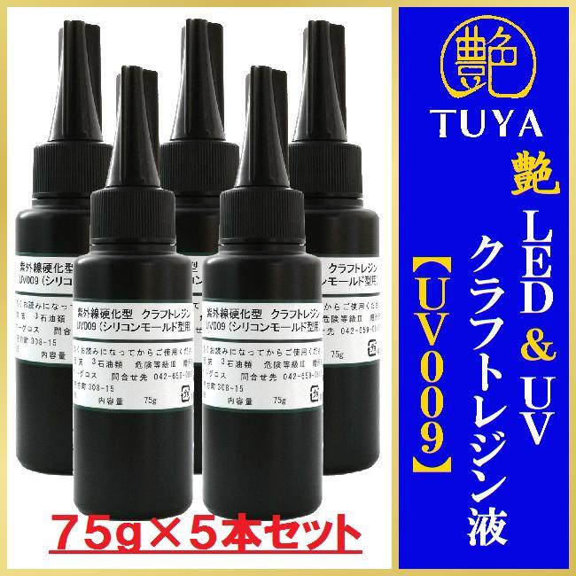 艶 UVレジン液 【UV009】75g×5本セットシリコンモールド型用 アクリル板付き