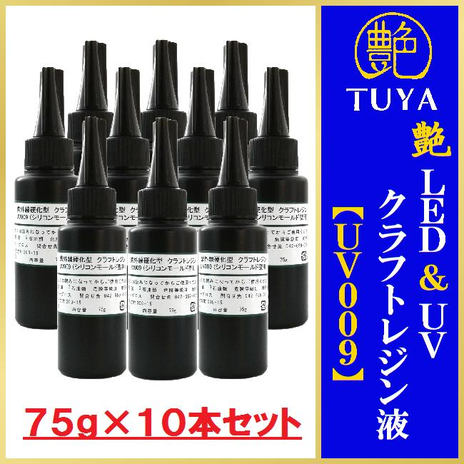 艶 LED&UVクラフトレジン液【UV009】75g×10本セットアクリル板1枚付き