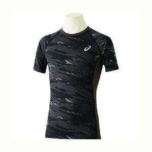 アシックス ウィンジョブ ハーフスリーブシャツ Ag+(銀イオン) 001(パフォーマンスブラック×ダークグレー) 2271A040 1着