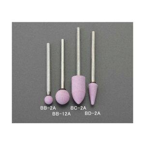 エスコ(esco) 10x20mm/3mm軸 軸付砥石(砲弾型/薄赤) EA819BC-2A