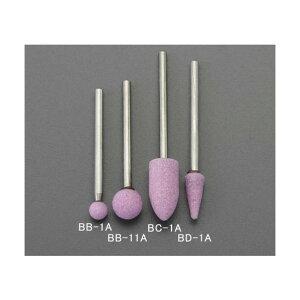 エスコ(esco) 6.5x16mm/3mm軸 軸付砥石(傘型/赤) EA819BD-1A