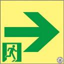 緑十字 ASN961 高輝度蓄光避難誘導ステッカー標識非常口→120×120A級認定品 377961