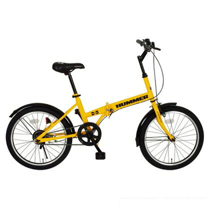 HUMMER 折りたたみ自転車20インチ イエロー (組立時)148×56×103cm MG-HM20R FDB20R