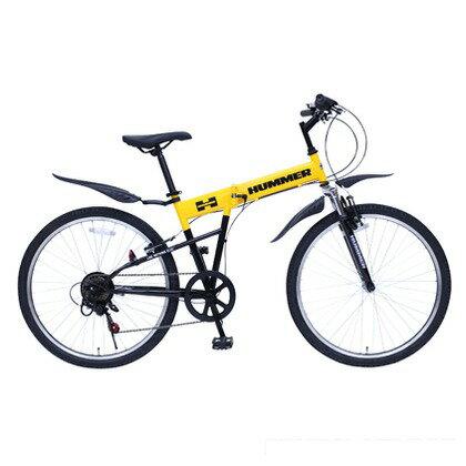HUMMER 折りたたみ自転車Rサス26インチマウンテンバイク イエロー (組立時)172×55.5×105.5c MG-HM266E FD-MT
