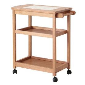 ヤマソロ タイルトップ3段ワゴン ブラウン 幅610×奥行340×高さ700mm 40-913 キッチンワゴン キッチン収納 カントリーキッチン キッチンラック 小物置き 木製