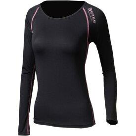おたふく手袋 アウトラスト ロングシャツ S ブラック×ピンク 胸囲:72-80 身長:154-162 JW-539 オタフク
