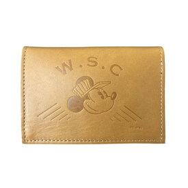Workson WSCレザーカードケース ブラウン H80mm×W110mm×D20mm 名刺入れ ミッキーマウス ディズニー