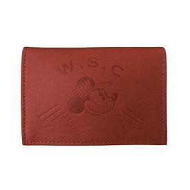 Workson WSCレザーカードケース ワイン H80mm×W110mm×D20mm 名刺入れ ミッキーマウス ディズニー