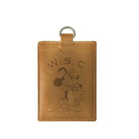Workson WSCレザーパスケース ブラウン H100mm×W70mm 定期入れ ミッキーマウス ディズニー