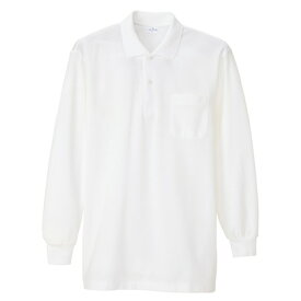 長袖ポロシャツ(男女兼用) 001ホワイト L 860-001-L