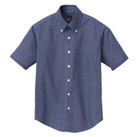 アイトス 半袖ギンガムチェックボタンダウンシャツ(男女兼用) 008ネイビー SS 7825-008-SS