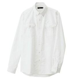 アイトス メンズ長袖オックスボタンダウンシャツ(両ポケットフラップ付き) 001ホワイト M 7880-001-M