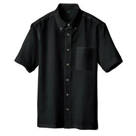 アイトス 半袖ボタンダウンシャツ(男女兼用) 010ブラック M 8054-010-M