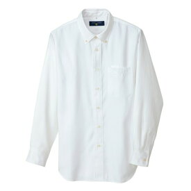 アイトス 長袖ボタンダウンシャツ(ヘリンボーン)(男女兼用) 001ホワイト M 50403-001-M