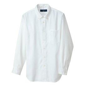 アイトス 長袖ボタンダウンシャツ(ヘリンボーン)(男女兼用) 001ホワイト L 50403-001-L