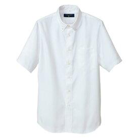 アイトス 半袖ボタンダウンシャツ(ヘリンボーン)(男女兼用) 001ホワイト M 50404-001-M