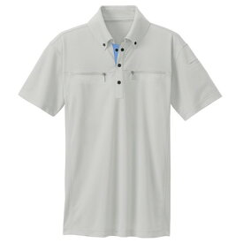 アイトス ボタンダウンダブルジップ半袖ポロシャツ(男女兼用) 003シルバーグレー M 10602-003-M