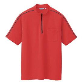 アイトス 半袖クイックドライジップシャツ(男女兼用) 046レッド 5 CL3000-046-5