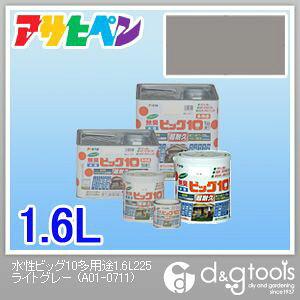 アサヒペン 無臭水性ビッグ10多用途ソフトなツヤ ライトグレー 1.6L 225