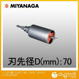 ミヤナガ 振動用コアドリル Sコア/ポリクリックシリーズ SDSプラスシャンク セット品 70×130 PCSW70R