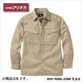 アリオカ 溶接・ 造船 作業着(作業服) 防炎長袖シャツ ベージュ 4L (MD2020)